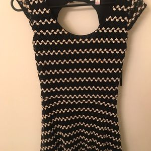Candie's black and white fit and flare dress